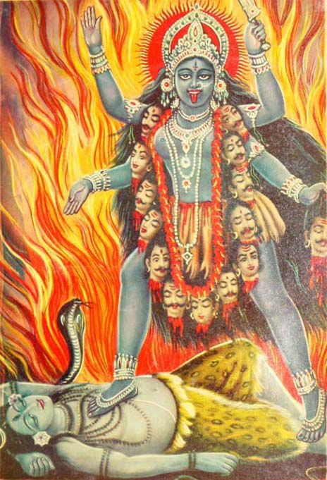 Kali with necklace of severed heads (egos).